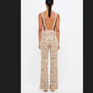 Other - peace + love nude embellished plunge jumpsuit